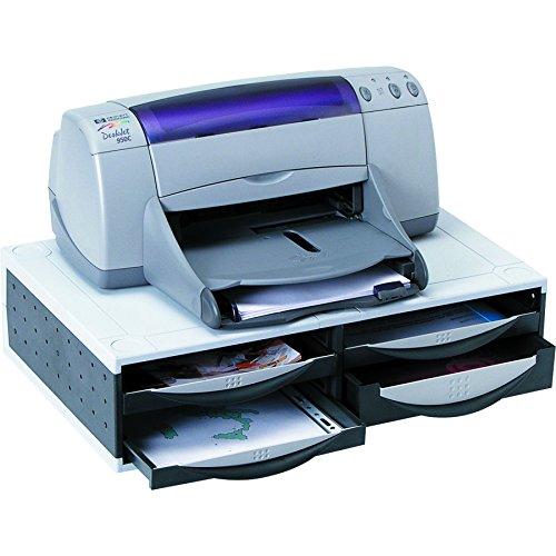 Fellowes 24004 Büromaschinen-Ständer mit 4 Schubladen und Kabelmanagement, taubengrau