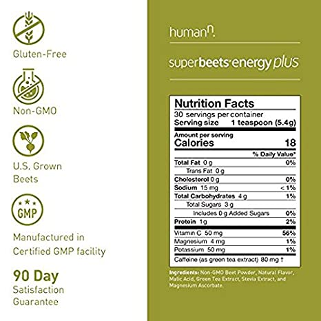 Amazon.com: HumanN SuperBeets Energy Plus Superfood Concentrated Non-GMO Beetroot Supplement with Green Tea Extract (5.7-Ounce, 3-Pack): Health & Personal ...