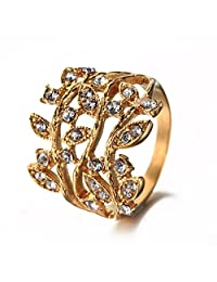 LAMUCH Fashion Jewelry Stainless Steel Gold Leaf Insert Diamond Rings For Womens