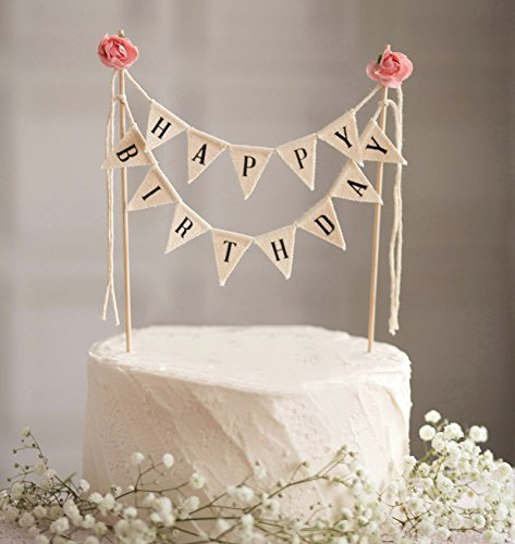 Happy Birthday Cake Bunting Topper Cake Topper Garland, Handmade Pennant Flags with Wood Pole Ivory Pink Roses -