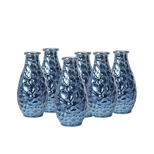 WH Housewares Pebble Grain Mercury Glass Bud Vase, Decorative Bottles 5.6 inch High Set of 6(Navy Blue) -