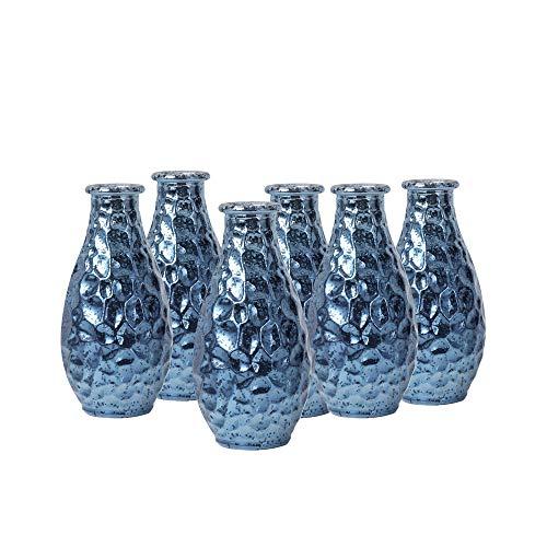 WH Housewares Pebble Grain Mercury Glass Bud Vase, Decorative Bottles 5.6 inch High Set of 6(Navy Blue)