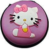 Shopkooky Hello Kitty Printed Designer Attractive Silicon Round Zipper Earphone Case Pink/Red | Headphones Cable Earbuds Wire Storage Box | Jewelry Organizer Protector Pouch Bag | Return Gift | Birthday Gifts Online