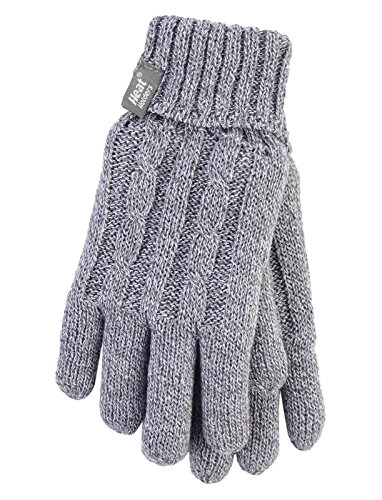 Heat Holders - Women's Thermal Heat Weaver Cable Knit 2.3 Tog Gloves - M/l (Medium/Large, Light Grey) (Best Gloves For Warmth Uk)
