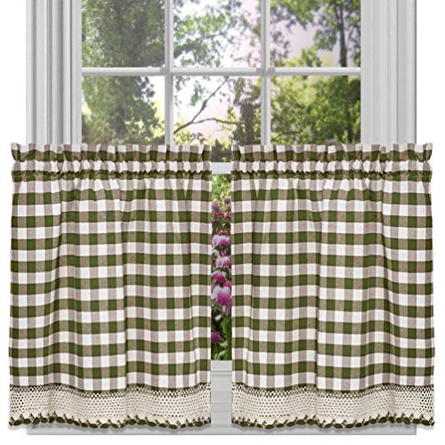 (Carmen Home Buffalo Check Sage Gingham Kitchen Curtain Window Treatment Assorted Sizes)