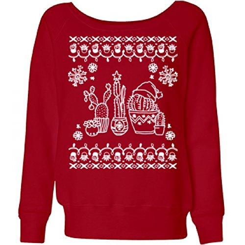 Cacti Christmas Sweater: Ladies Bella Wideneck Sweatshirt (Lil Cactus Girls compare prices)