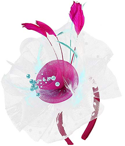 Flower Cocktail Tea Party Fascinators Feather Headwear Top Hats Wedding Headband for Women (009-White&Rose&Light Blue)]()