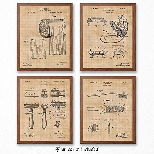 Original Bathroom Patent Art Poster Prints - Set of 4 (Four) Photos - 8x10 Unframed - Great Wall Art Decor Gifts Under $20 for Bathroom, Man Cave, Garage (Mens Bathroom Wall Pictures)