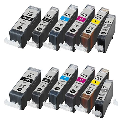 Free 12/Pack PGI-220 CLI-221 Canon 2B/2PB/2C/2M/2Y/2G ink cartridges combo Compatible with: iP3600 iP4600 iP4700 SFP1 SFP2 MP610 MX860 MP540 MP550 MP560 MP620 MP630 MP640 MP980 MP990 MX860 MX870