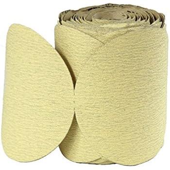 POWERTEC 4DR1532 Gold 6 Inch PSA Sanding Discs with 320 Grit Sandpaper Abrasive - 100 Pack