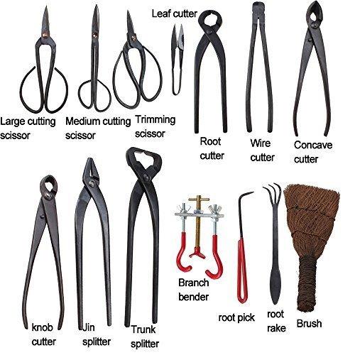 IMAGE Herramienta Bonsai 14PCS Jardinería acero al carbono Set Profesional Máster Shear Y Kit cepillo con alambres rodar en nylon resistente caja de ...