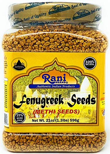 Rani Fenugreek (Methi) Seeds Whole 21oz (1.30lbs 596g - 1lb & 5oz) PET Jar, Trigonella foenum graecum ~ All Natural | Vegan | Gluten Free | Non-GMO | Indian Origin, used in cooking & Ayurvedic spice