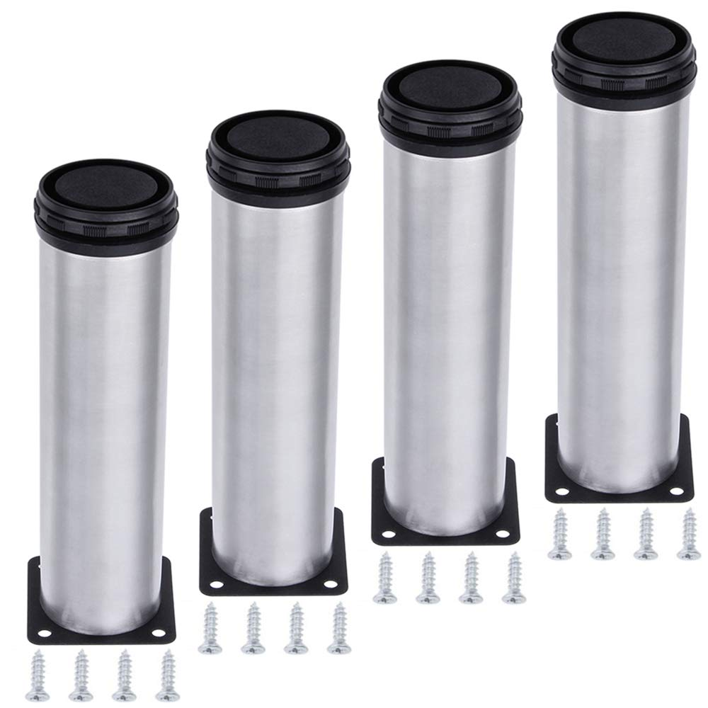 AOWISH 4-Pack Stainless Steel Furniture Legs Furniture Foot Upgraded & Thickened Cabinet Metal Legs 2 Inch Diameter Shelves Sofa Table Kitchen Adjustable Feet with 16 Screws (6 Inch/150 mm Height)