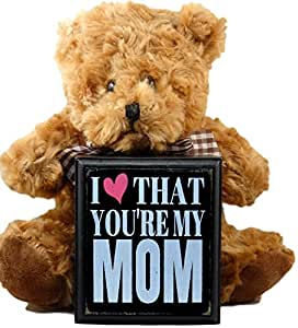 Mom Gifts From Daughter or Son for Mothers Day Birthday Christmas Thank You Gift - Teddy Bear and I Love That You're My Mom Plaque Best Gifts for Mother in Law