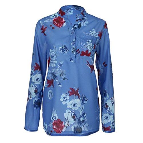 Camicie Tops V Casual Shirt Maniche Donna Autunno Plus Pullover Lunghe Stampa Felpa a Camicette Scollo Elegante Floreale Blu ABCone T RawqUx