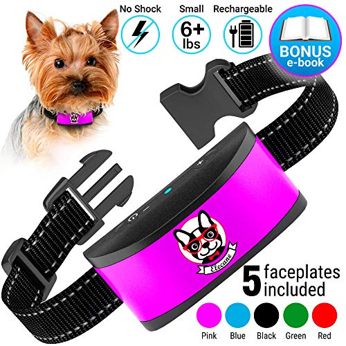 Small Dog Bark Collar Rechargeable - Anti Barking Collar For Small Dogs - Smallest Most Humane Stop Barking Collar - Dog Training No Shock Bark Collar Waterproof - Safe Pet - Dog Bark Collar Automatic