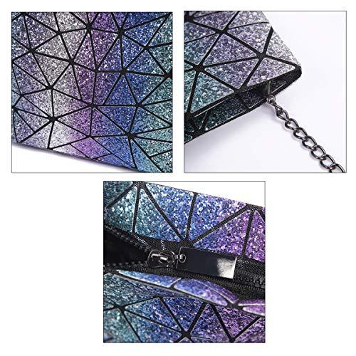 Women Coloured Chain Clutch Shoulder Purse Bags Bag Laser Cross Body Kea Bag Bag Geometric Sun Bead PU Bag q4xBawtO