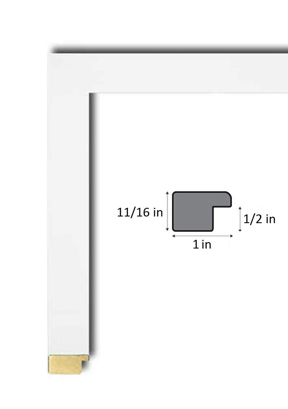 24x32 Advanced White Wood Poster Frame, UV Acrylic Clear Sheet, Foam Board Backing