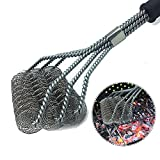 EGOKEE BBQ Grill Brush,Stainless Steel Wire Bristle Cleaner Tools Cleaning Spring Brush for Grill- with Long Handle,Clean Safe & Perfect Barbecue Tool