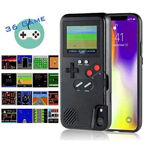 Gameboy iPhone Case Handheld Game Console Case Protective Cover, AISALL Gameboy Phone Case for iPhone 6/7/8 Plus iPhone X XR XS Max with 36 Classic Retro Games & Full Color ()