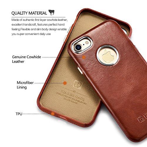 Custodia iPhone 7, ICARER Ultra Sottile Leggero Protettiva Cover Custodia in Pelle Back Cover Case per iPhone 7 4,7 Pollice (Marrone)