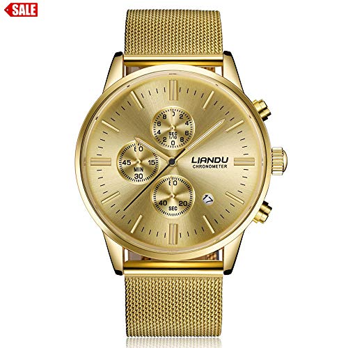 Alalaso Lovers' Quartz Wrist Watch, LIANDU Fashion Women Men Simple Stainless Steel Analog Luxury Watch(Gold) ()