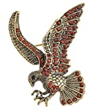 MagicYiMu Antique Bronze Stunning Style Eagle Pin Brooch Colored Rhinestones for Men
