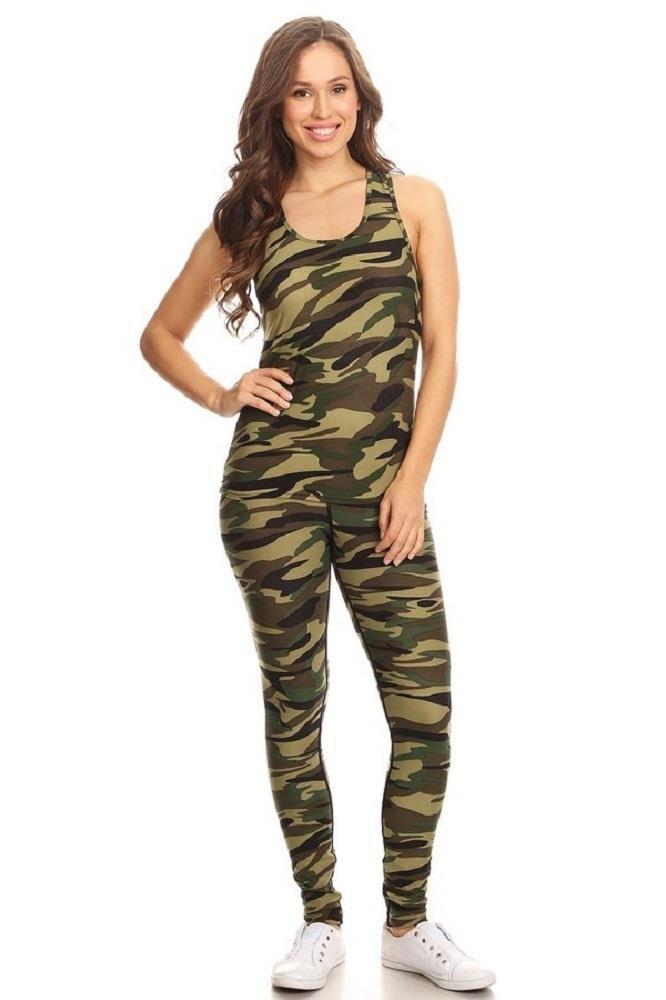 Women's 2 Piece Camouflage Print Stretchy Raceback Tank & Legging Set L/XL