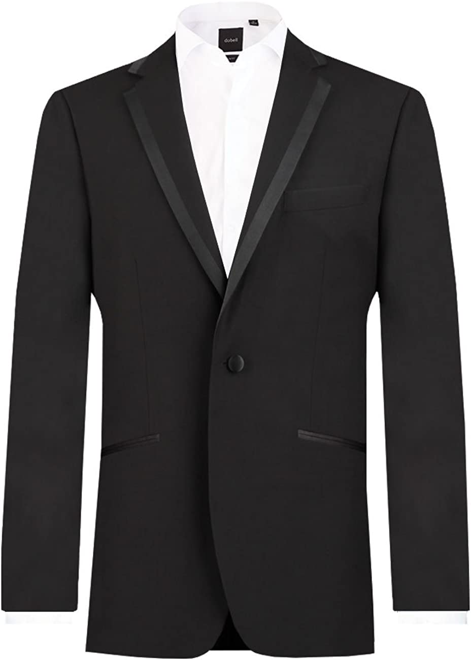 1970s Men's Suits History | Sport Coats & Tuxedos Dobell Mens Black Tuxedo Dinner Jacket Regular Fit Notch Lapel Satin Trim £64.99 AT vintagedancer.com