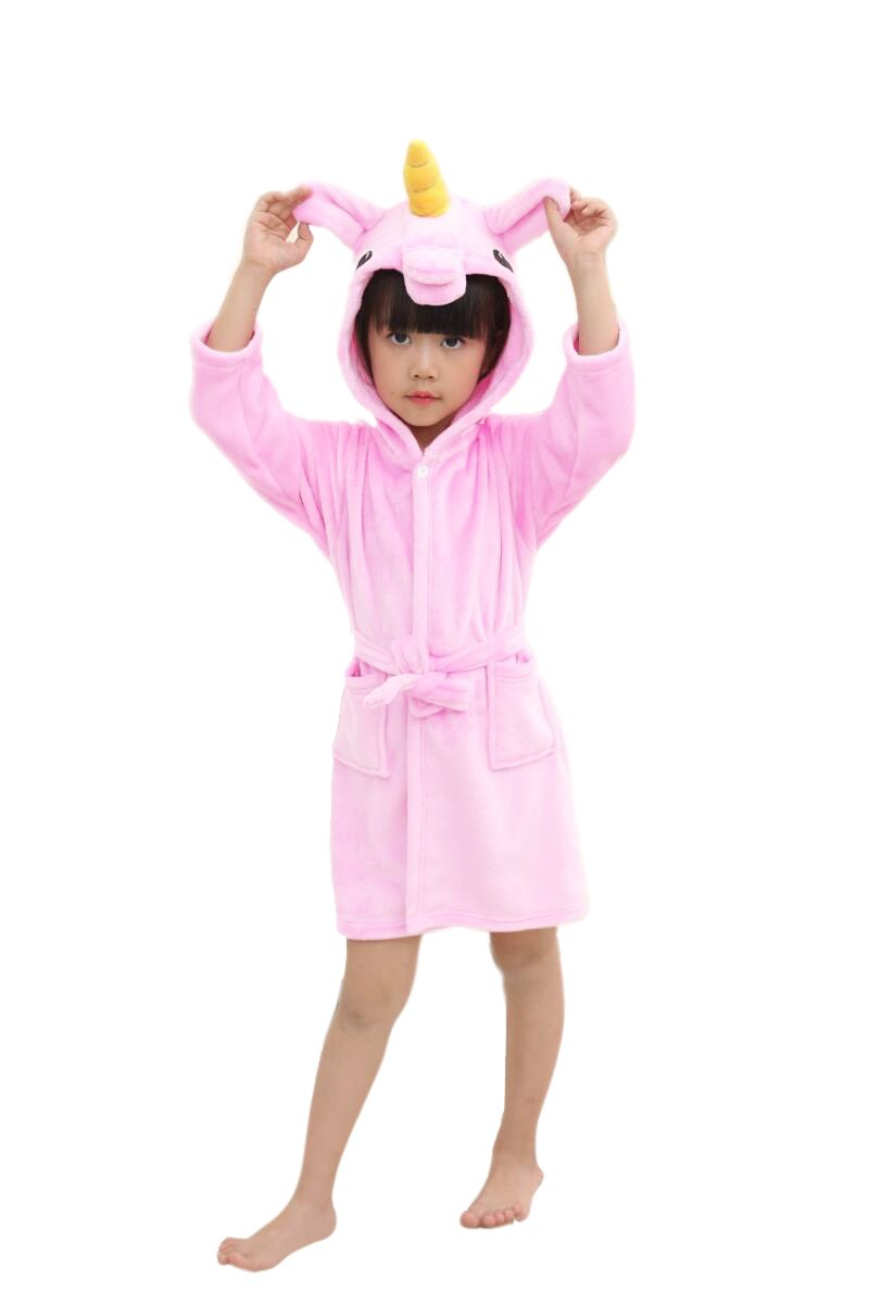Niños Unicornio Bata de Baño Franela Encapuchado Pijama Unicornio Cosplay Disfraces con Capucha Animales Camisón Albornoz Vestirse Unisexo - BienBien