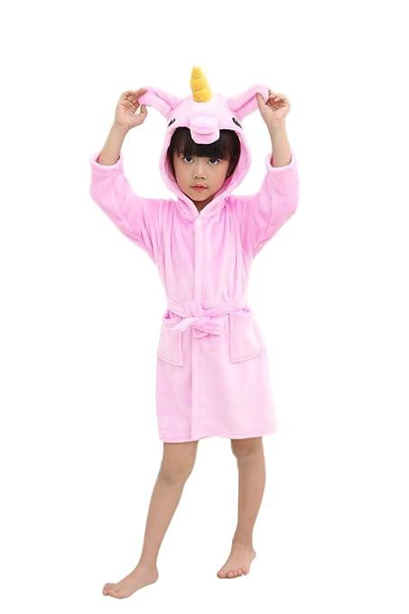 Niños Unicornio Bata de Baño Franela Encapuchado Pijama Unicornio Cosplay Disfraces con Capucha Animales Camisón Albornoz