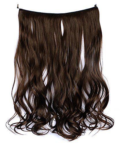 [SWACC Straight/Curly Halo Wire Hidden Hairpiece Flip Synthetic Hair Extensions NO Clip Ins 80G (20-Inch Curly, Dark] (Curly Synthetic Hair)