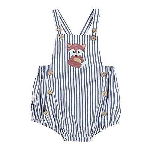 - 32913013093 Boys Romper Blue Stripe & Cute Fox