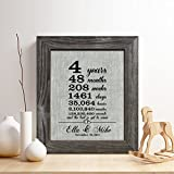 Personalized 4th Linen Anniversary Gift for Him or Her,''4 Years.and Counting'' Linen Print, Gifts for Husband and Wife, 4 Years Together