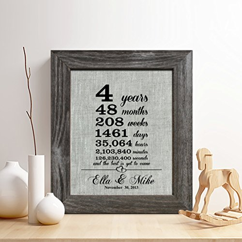 Personalized 4th Linen Anniversary Gift for Him or Her,
