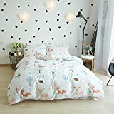 BuLuTu 100% Cotton Animal Bedding Duvet Cover Sets Twin White 3 Pieces Woodland Kids Bedding Sets For Boys Girls Zipper Closure With 4 Strings,1 Duvet Cover and 2 Pillowcases,68''x86''