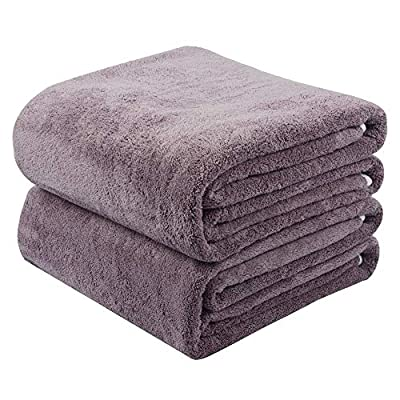KinHwa Microfiber Bath Towels Large Bathroom Towel Super Absorbent Shower Towel Extra Soft Towels for Bathroom, Sports, Travel, Fitness, Yoga, Spa, Pool, Purple 2 Pack 30Inch x 60Inch - PREMIUM MICROFIBER: Ultra soft, you can experience the super soft feeling of our microfiber bath towels on your skin. SUITABLE SIZE: 2 pack, 30Inch x 60Inch, this bathroom towel is large enough for your daily bathing. ABSORBENT AND LIGHTWEIGHT: Highly absorbent, yet light-weighted,fast drying. Give the body a soft and delicate touch while absorbing all moisture quickly. - bathroom-linens, bathroom, bath-towels - 5134YOT5bvL. SS400  -