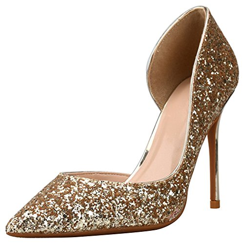 Wealsex Ladies Women's Sexy High Heels Pointed Toe Sequins Color Gradient Court Shoes Party Pumps Clubbing Work Wedding Prom Banquet Shoes golden 1f9VP