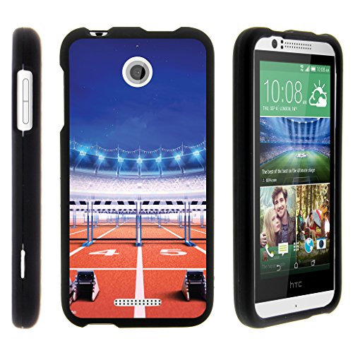 Compatible for HTC Desire 510 Case [Slim Duo] Fitted 2 Piece Hard Snap On Case Rubberized Coating on Black Sports and Games Design by TurtleArmor - Track Race (Htc Desire 510 Track Case)