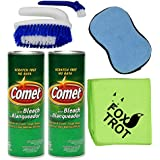 Comet Cleaner Total Kitchen and Bathroom Cleaner Kit - Two 21 Oz Canisters Comet Cleanser Powder with Bleach - Tough Scrub Sponge - 2 in 1 Scrub and Detail Brush - Foxtrot Microfiber Towel