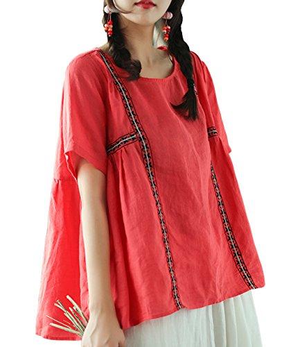 YESNO EA9 Women Casual Loose Cropped Blouse Shirt 100% Linen 'A' Skirt Gathered Waist Short Sleeve ()
