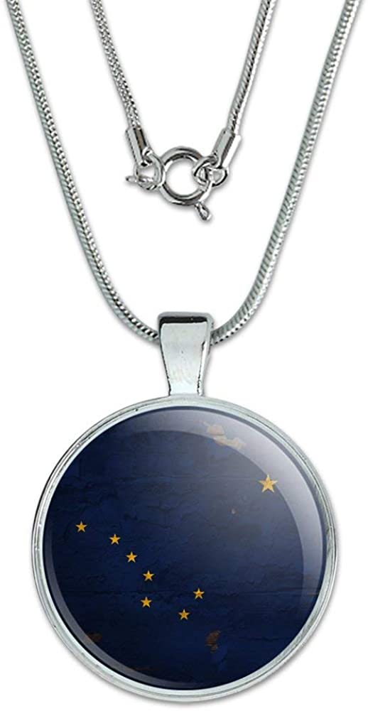 GRAPHICS /& MORE Rustic Alaska State Flag Distressed USA 1 Pendant with Sterling Silver Plated Chain