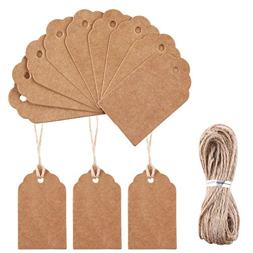 DECORA 5x3cm Mini Retro Gift Kraft Tags 100 Pieces Plain Blank Scallop Bonbonniere Favor Tags with Jute Twines for Easter Gift Wrapping