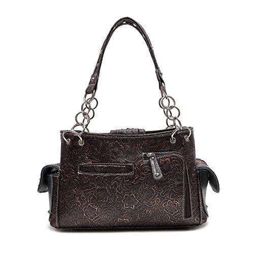 Western Carry Bag Handbag Shoulder Brown Concealed Buckle Gold Satchel Cwr41Cqfx