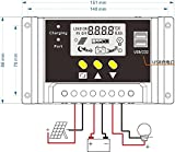 Hompie LCD Solar Charge Controller Intelligent Solar Panel Regulator Adapter with 30A 12V/24V 360W/720W PWM for Solar Power Panel Energy System, Street Lighting System and Environment Monitor etc