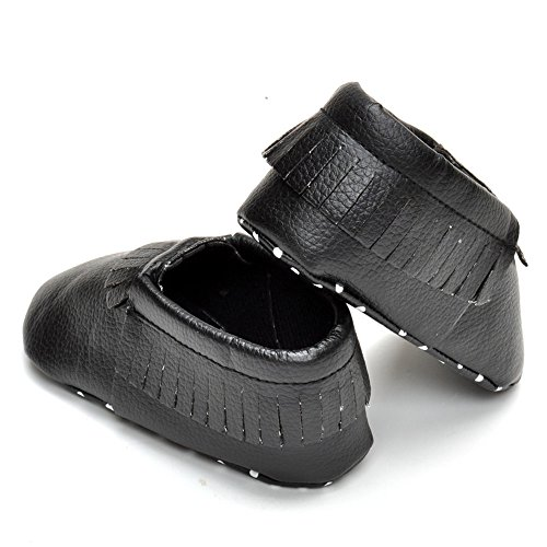 Estamico bebé niñas niños borla mocasín zapatos negro negro Talla:12-18 meses negro