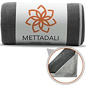 "Mettadali Yoga Hand Towel (15"" x 24"") Non Slip Resistant & Sweat Activated Gripping Microfiber Super Soft, Absorbent & Fast Drying Towel"