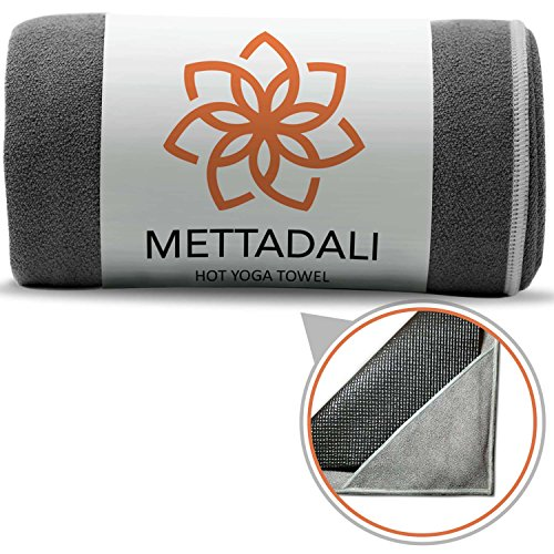Mettadali Yoga Towel, NEW Anchor Fit Corners, 100% Satisfaction Guarantee! Stop Slipping During Bikram, Power Vinyasa & Hot Yoga Classes, Absorbent Machine Washable Microfiber (Gray, 72
