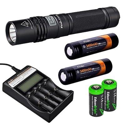 Fenix E35 Ultimate Edition 900 (E35UE) Lumen CREE XM-L2 U2 LED Flashlight, Fenix ARE-C2 four bays Li-ion/ Ni-MH advanced universal smart battery charger, Two Fenix 18650 ARB-L2S 3400mAh rechargeable batteries with Two EdisonBright CR123A Lithium Batteries