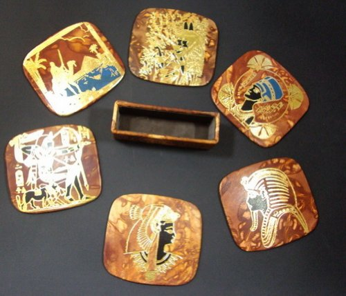 - BonBalloon LEATHER Egyptian Coffee Table Coaster Set Genuine Leather Hand Made Handcrafted Ethnic 221